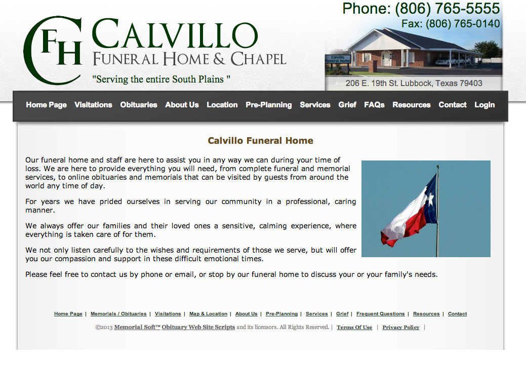 Funeral home web site sample designs and layouts - Funeral home web design ...