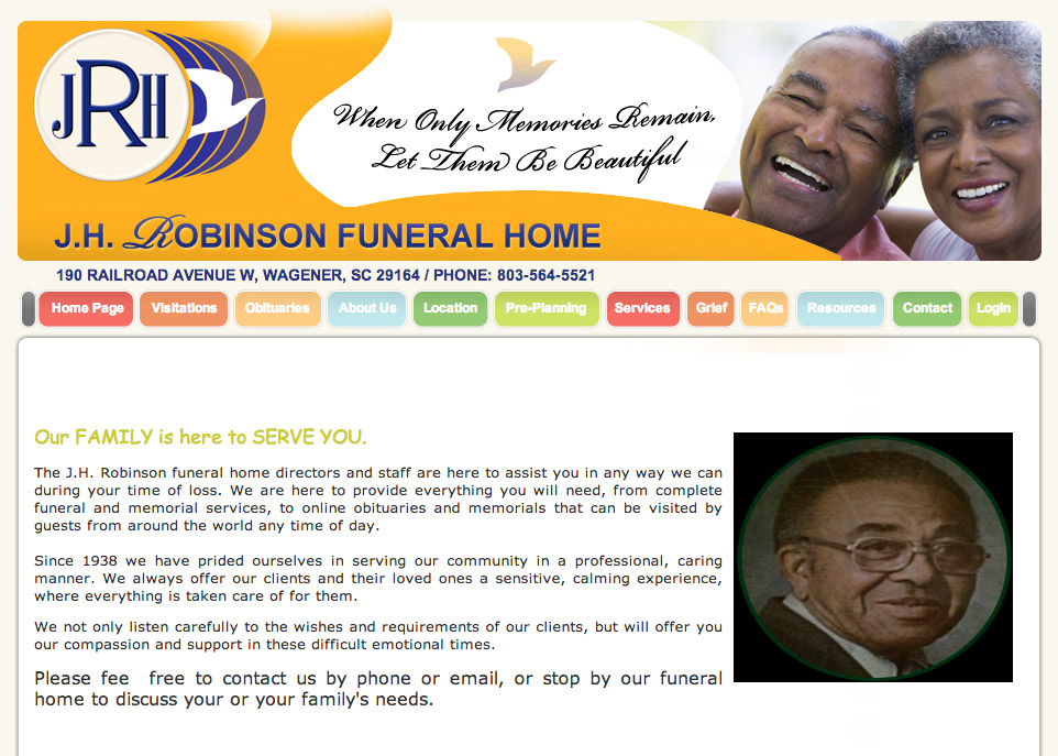 Funeral home web site sample designs and layouts - Funeral home website design ...